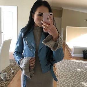Zara - Blue faux leather jacket